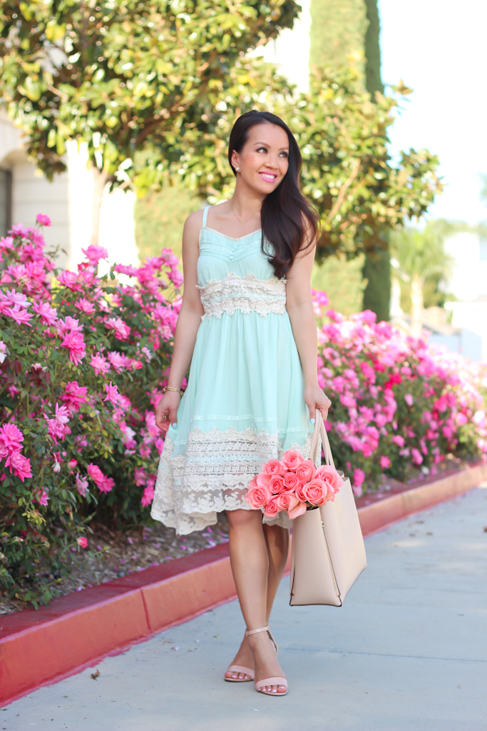 Chicwish Got A Date Mint Lace Dress, BP Nordstrom Luminate blush nude open toe sandals, Ann Taylor pebbled signature tote, Crochet head wrap-7