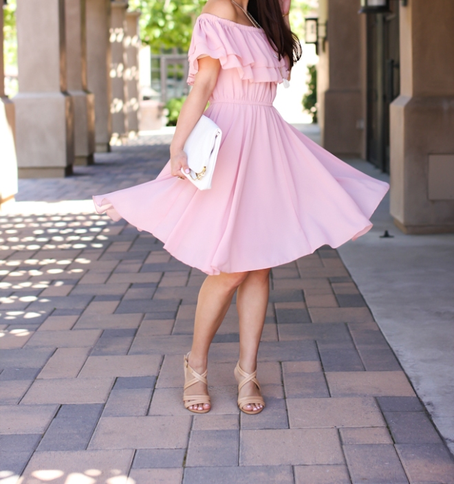 Chicwish endless off the shoulder frilling dress in pastel pink, Saks off 5th white floppy hat, H&M white clutch, Isola strappy nude sandals-4