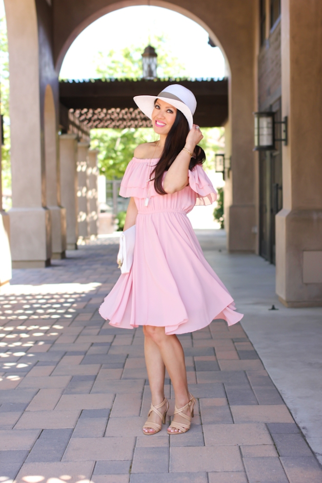 Chicwish endless off the shoulder frilling dress in pastel pink, Saks off 5th white floppy hat, H&M white clutch, Isola strappy nude sandals-5