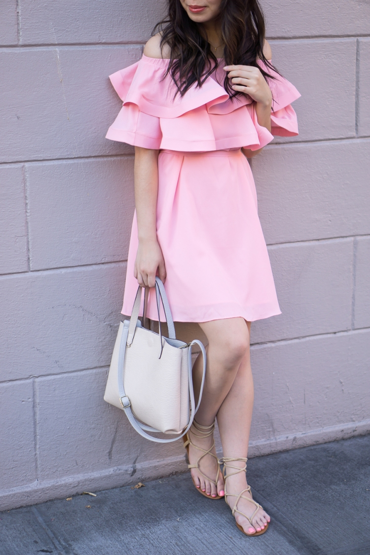 justatinabit-pink-ruffle-dress-chicwish-off-the-shoulder-dress-outfit-steve-madden-werkit-gladiator-sandals-spring-fashion-2