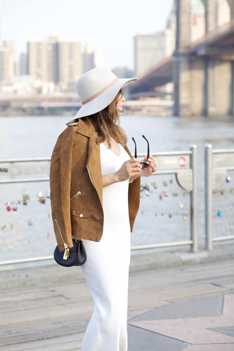 hm-faux-suede-jacket-white-dress-ag-denim-stripe-off-shoulder-top-pencil-skirt-cami-fall-outfit-nordstrom-hat-corporate-catwalk4