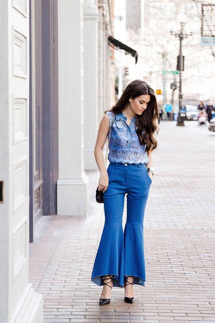 Diane-Von-Furstenberg-blue-ombré-lace-Vida-top-and-Hi-lo-Flare-Jeans-1